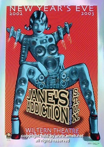"Jane's Addiction foil variant poster version 1 (click image for more detail) Artist: EMEK Venue: Wiltern Theatre Location: Los Angeles, CA Concert Date: 12/31/2002 Size: 20"" x 29"" Condition: Mint Note"