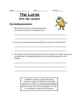 The Lorax 1972 Film Version Class Discussion Questions The Lorax This Or That Questions Science Lessons Middle School