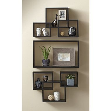 7 Piece Interlocking Wall Shelf Set In Cosmo Black