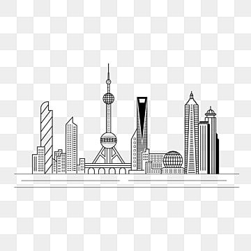 Hand Drawn Line City Shanghai Building Silhouette Line Draft Clipart Black And White City Building Construction Png And Vector With Transparent Background Fo Building Silhouette How To Draw Hands Building Sketch