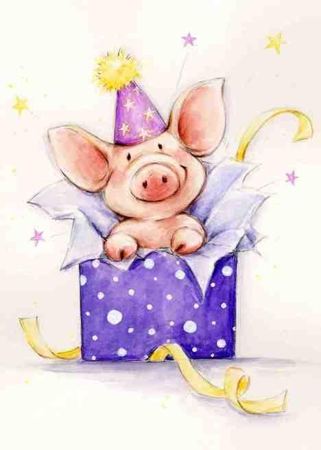 Рисунок свинки открытка