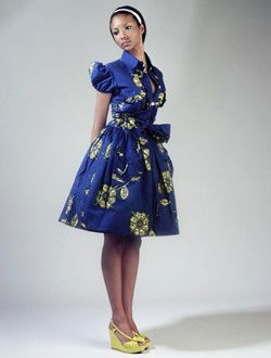 African wax print dress blue in a style model