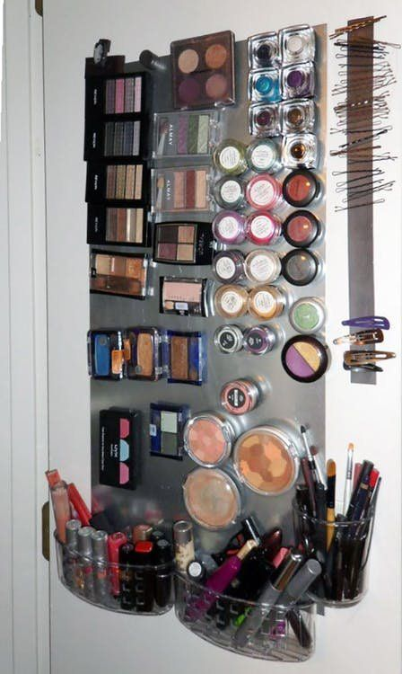 Why You Should Use Magnets To Organize Your Bathroom Makeup Room Diy Diy Makeup Storage Diy Makeup Storage Organizers