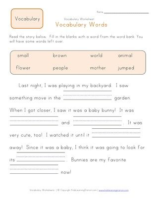 1st Grade Fill In The Blanks Vocabulary Worksheet 2 Vocabulary Worksheets First Grade Reading Comprehension Kindergarten Phonics Worksheets First grade vocabulary worksheets