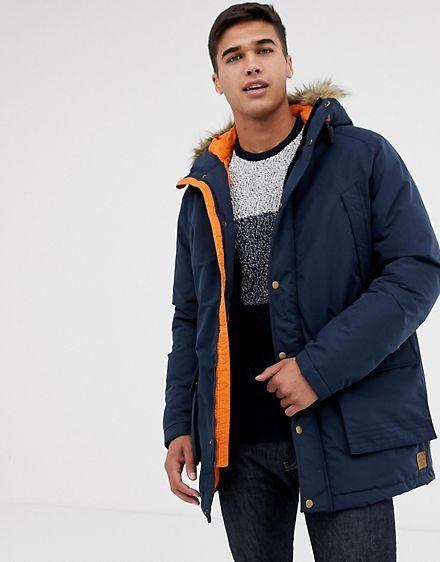 Jack Jones Parka Jacket With Faux Fur Hood Streetwear Jackets Mens Winter Fashion Parka Jacket