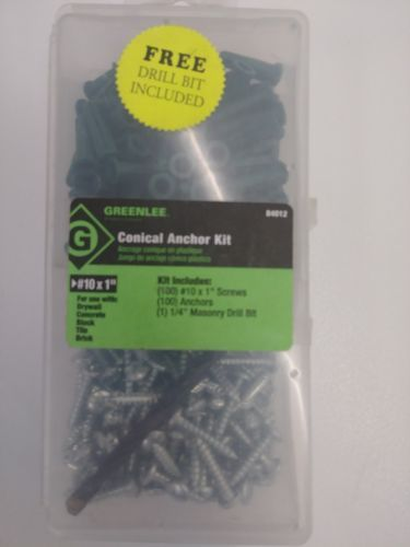 Anchors 83852 Greenlee Conical Anchor Kit 84012 10 X 1 Screws And Anchors 100 Pieces Buy It Now Only 10 5 On Ebay Masonry Drill Bits Drill Bits Anchor