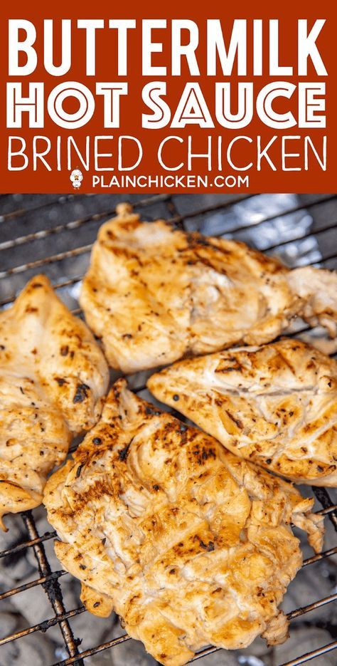 Buttermilk Hot Sauce Brined Chicken Seriously The Most Tender And Juicy Chicken We Ve Ever Made C Brine Chicken Grilled Meat Recipes Brined Chicken Recipe