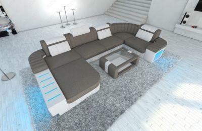Beautiful Sofa Dreams Stoff Wohnlandschaft BELLAGIO U Form mit LED Beleuchtung Jetzt bestellen unter https