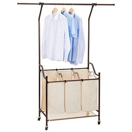 Ollieroo Laundry Clothes Sorters Beige With Telescopic Rack Hanging Bar Laundry Sorter Laundry Hamper