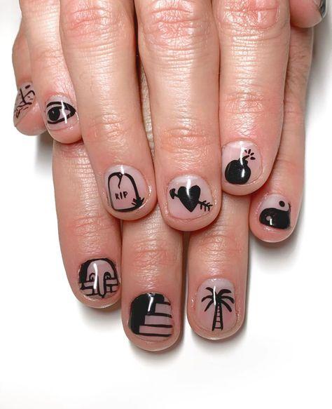 Funky Nail Art, Black Nail Art, Funky Nails, Black Nails, Cool Nail Art, Owl Nails, Minion Nails, Nail Manicure, Nail Polish