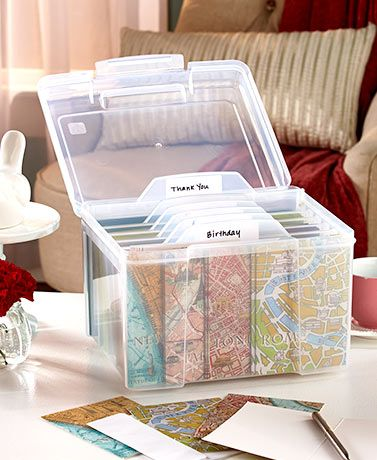 Greeting Card Organizer Box With Dividers In 2021 Greeting Card Organizer Greeting Card Storage Card Organizer