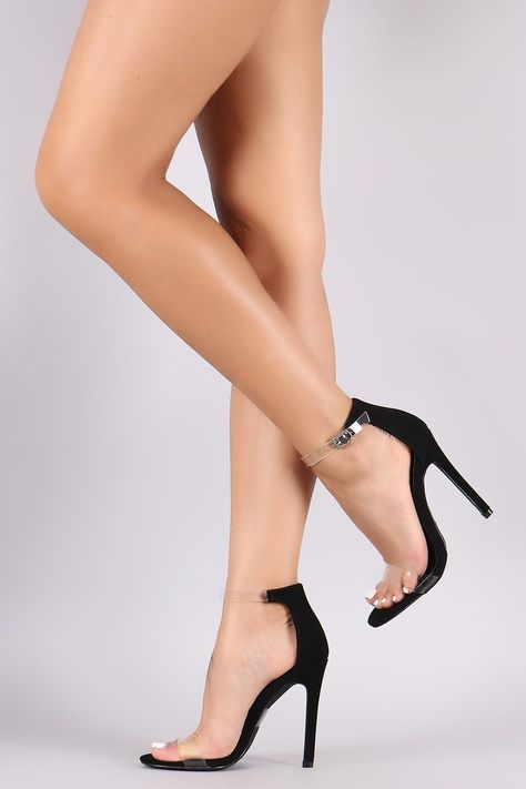 0866838f513 Transparent Ankle Strap Open Toe Nubuck Stiletto Heel