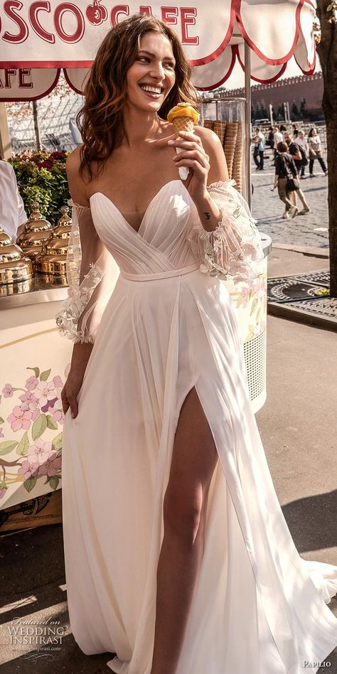 papilio 2019 bridal long bishop sleeves off the shoulder sweetheart neckline wrap over ruched bodice slit skirt romantic a  line wedding dress medium train (1) lv -- Most Popular Wedding Dresses on Our Pinterest This Year   Wedding Inspirasi  #wedding #weddings #bridal #weddingdress #weddingdresses #bride #fashion #2019trends #2020trends #trends #week:522019 #year:2019 ~