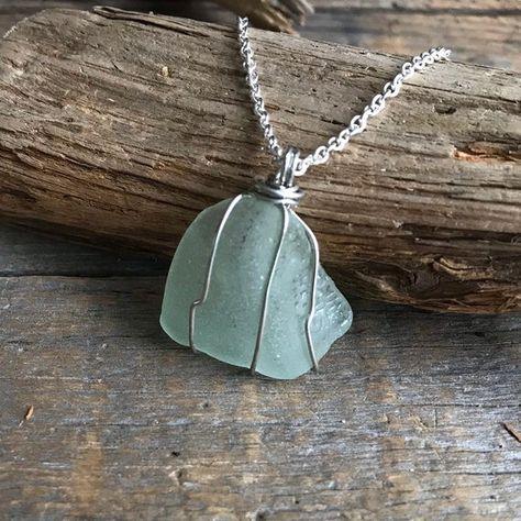 AQUA Blue genuine Sea Glass necklace, Rare Beach Glass pendant, Genuine Sea Glass Jewelry, wire wrap