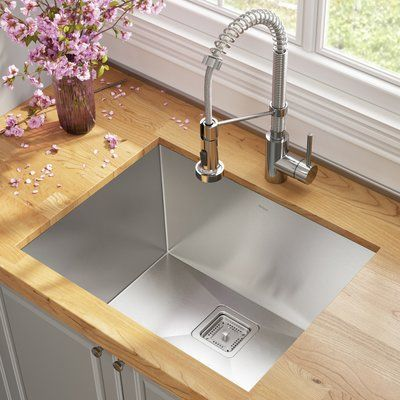Kraus Pax 24 L X 19 W Undermount Kitchen Sink With Faucet Undermount Kitchen Sinks Drop In Kitchen Sink Deep Sink Kitchen