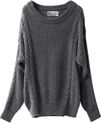 Liny Xin Mens Knitted Cashmere Wool Casual Crew Neck Long Sleeve Loose Winter Warm Pullover Sweater Tops
