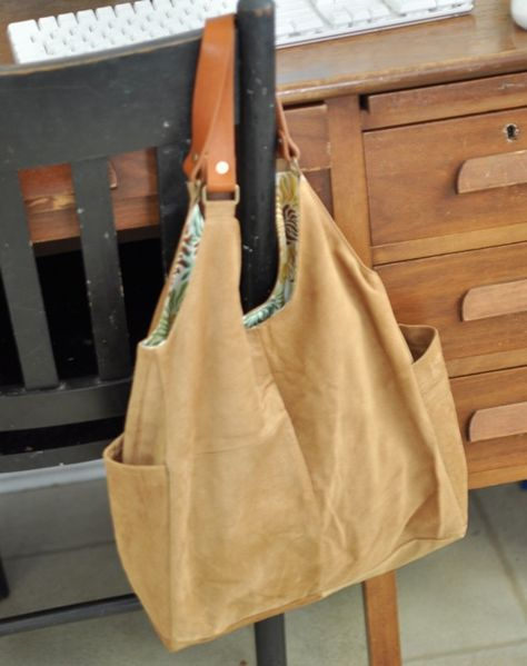 Suede Bag Made from Repurposed Suede Jacket and DIY Tote Bag Tutorials