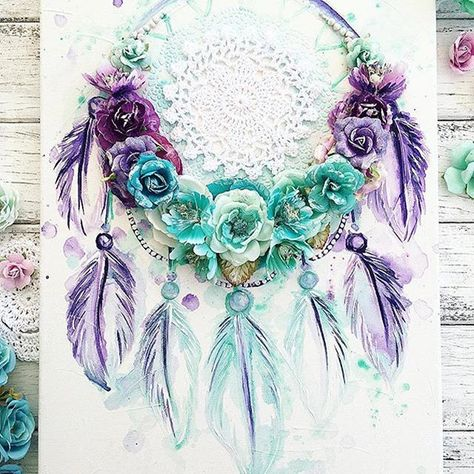 Catching beautiful dreams! . . #Repost @staceyyoungdesigns ・・・ Dreamcatcher This photo literally does not do this Dreamcatcher justice!! It's so so gorgeous in purple, mint and turquoise....new fave I think, I say that with each one I make TFL xx #dreamcatcher #canvasart #primamarketing #feathers #dreamcatchercanvas #artist #mixedmedia #creative #custommade #primaflowers #watercolour #watercolourart #primamarketinginc