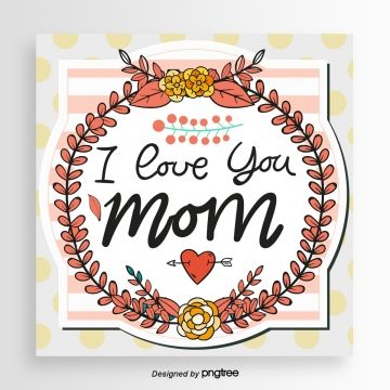 Card Mom Hand Painted Branch Mothers Day Wave Point Red Background Wreath Petal Yellow Mothers Day Cards Greeting Card Template Mom Cards