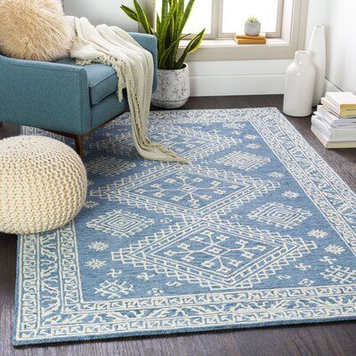Hyer Handmade Tufted Wool Navy Beige Rug Rug Size Rectangle 6 X 9 In 2020 Hand Tufted Rugs Wool Area Rugs Beige Rug