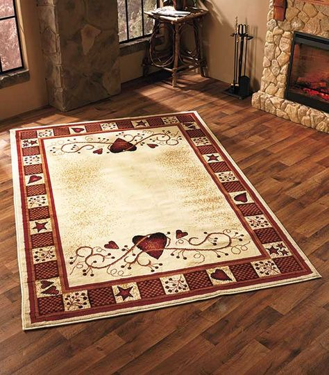 Area Rug Hearts Berries Country Rustic Primitive Cabin Farm Burgundy 63 X 90 Country House Decor Primitive Decorating Country Primitive Homes