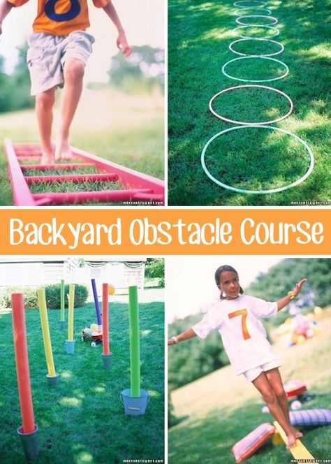 32 Fun DIY Backyard Games To Play (for kids & adults!) 32 Of The Best DIY Backyard Games You Will Ever Play - I wonder if I'm creative enough to come up with something like this. Backyard Obstacle Course, Kids Obstacle Course, Backyard Party Games, Backyard For Kids, Lawn Games, Pool Backyard, Backyard Kitchen, Pool Games, Garden Kids