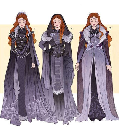 Sansa Stark and Daenerys Targaryen Costume Designs by Hannah Alexander Artwork Dessin Game Of Thrones, Game Of Thrones Art, Fantasy Character Design, Character Design Inspiration, Fantasy Dress, Drawing Clothes, Halloween Kostüm, Vintage Halloween, Halloween Makeup