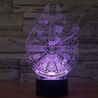 Veilleuse Led 7 Couleurs Faucon Millenium Guerres Des Etoiles Illusion 3d Creative Decor Lampe Bureau T Star Wars Night Light Star Wars Lamp 3d Led Night Light