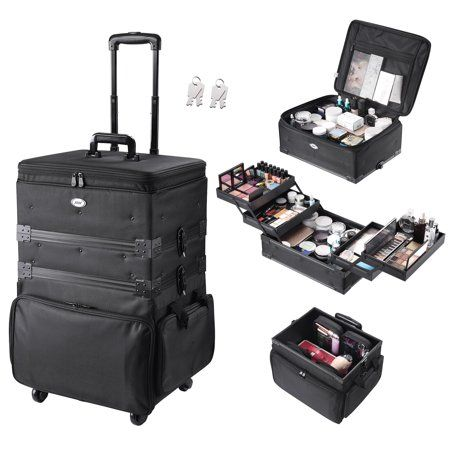 Aw Rolling 3in1 Soft Sided Makeup Case Organized Cosmetic Trolley 2in1 Artist Travel Case Storage 360 Degree Wheel Lock Walmart Com In 2020 Rolling Makeup Case Makeup Case Makeup Case Organization