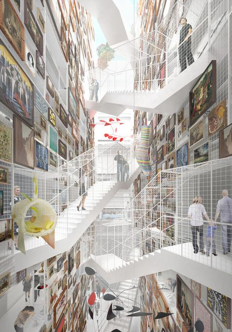 © MVRDV   As an archive, the building will also have spaces inaccessible to the general public. There will, for example, be rooms for private art collections in which proprietors can view their property in spaces comparable to the art-equivalent of a sky box.