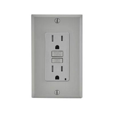 Leviton Smartlockpro Slim 2 Pole Tamper Resistant Monochromatic Gfci Receptacle In Gray Color Has Voltage Rating Of 12 Leviton Indicator Lights Led Indicator