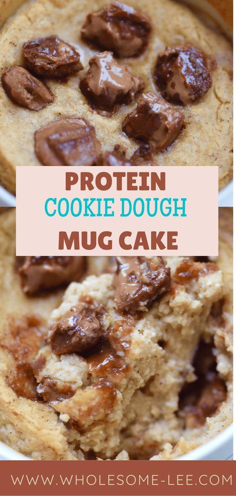 Easy Mug Cake, Mug Cake Healthy, Healthy Cookie Recipes, Healthy Cookies, Easy Cake Recipes, Dessert Recipes, Healthy Deserts, Protein Recipes, Drink Recipes
