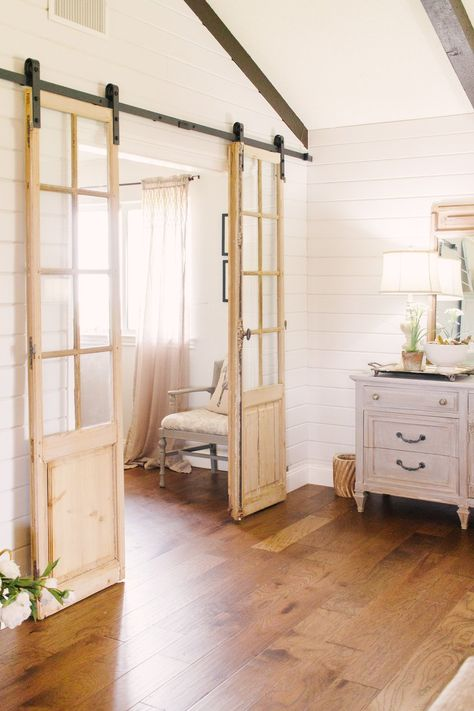 My Little White Barn Home Tour - Spring Decor Inspiration - Vintage Doors to Office - Shiplap - Double Barn Doors - Sliding Vintage Doors - Light Wood Barn Doors