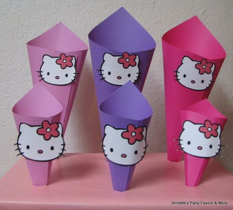 Hello Kitty Candy Snack Paper Cones for by AnnettesPartyFavors, $18.00