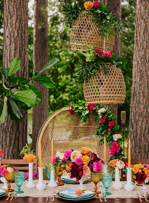 It's time to start planning a groovy, bohemian-inspired bridal shower for the bride-to-be! From bold colored florals to an array of textured décor, a retro boho theme is sure to give off happy. Summer Wedding Decorations, Bridal Shower Decorations, Summer Weddings, Wedding Summer, Wedding Themes, Wedding Ideas, Retro Weddings, Wedding Planning, Aisle Decorations