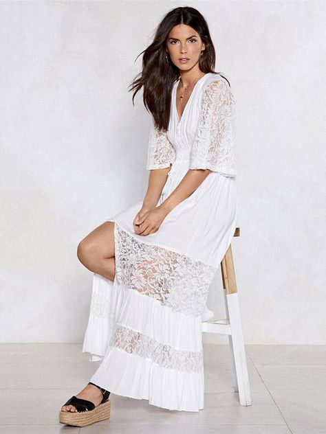 160179cd5eca V-neck Lace Elastic Waist Maxi Dress in 2019 | Summertime | White ...