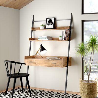 Harton Leaning Ladder Desk Color Top Frame Natural Wood In 2020 Leaning Ladder Desk Ladder Desk Desk In Living Room