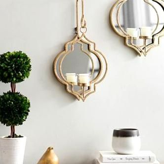 Gold Quatrefoil Mirrored Wall Sconce 175 In In 2020 Mirrored