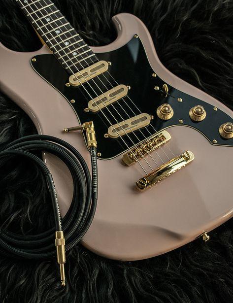 black electric guitar Revelation Cable Black Rider with the Cooper Baum Guitar. Guitar Art, Cool Guitar, Acoustic Guitar, Guitar Room, Guitar Painting, Fender Custom Shop, Custom Guitars, Custom Bass Guitar, Black Rider