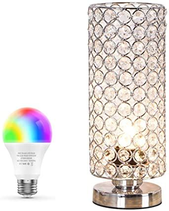 Zeefo Crystal Table Lamp With Wifi Smart Led Bulb 7w Dimmable Color Changing Light Bulb Compatible With Ale Crystal Table Lamps Table Lamp Silver Bedside Lamps