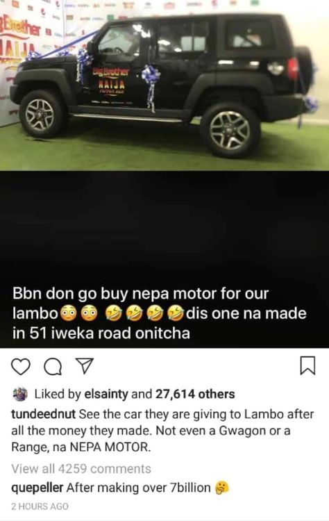 Tunde Ednut Mocks Bbnaija S Car Gift To Mercy Car Gifts Car S Car See the car they are giving to lambo after all the money they made. pinterest