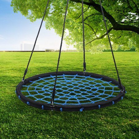 Portable Casual Folding Swing Hammock Round Nylon Mesh Children Kids Indoor Outdoor Travel Camping Swing Hammock, Black
