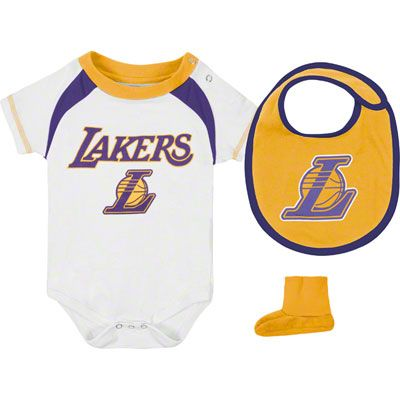 efb1c8f8 Los Angeles Lakers Infant Baby adidas Creeper, Bib & Bootie Set ...