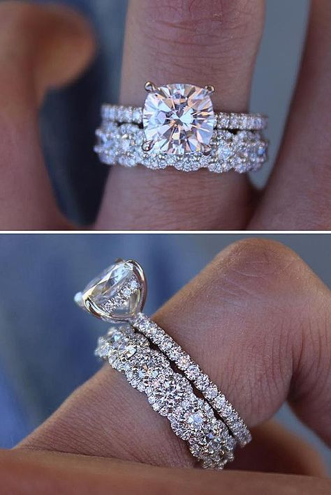 Round Cut morganite engagement ring set,Curved U diamond wedding band,half bridal rose VS Morganite - Fine Jewelry Ideas - 39 Stunning Bridal Sets That Will Conquer Her Heart Dream Engagement Rings, Rose Gold Engagement Ring, Engagement Ring Settings, Diamond Wedding Bands, Wedding Band Sets, Unique Wedding Bands, Wedding Ring With Band, Stacked Engagement Ring, Wedding Gold