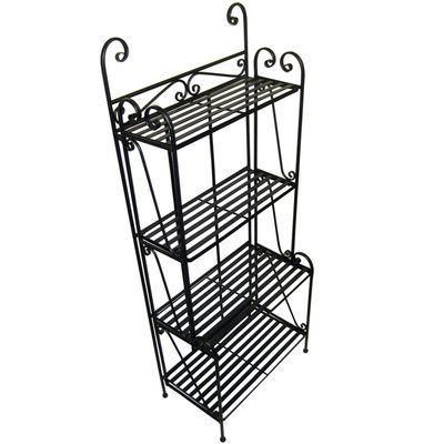 Folding Piper Baker S Rack Slatted Shelves Bakers Rack Wine Glass Storage