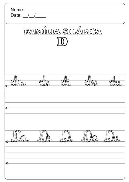 Familia Silabica Do D Caligrafia Atividades Alfabetizacao E Letramento Familia Silabica Atividades De Alfabetizacao Matematica