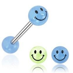 PIERCING LANGUE BIOFLEX FLEXIBLE FLUO UV ACRYLIC BARBELL TONGUE WITH SOLID BALL