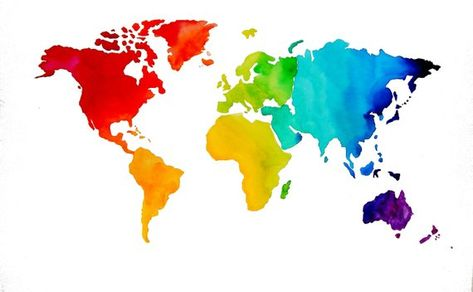 Original Watercolor -  Map of The World - Travel Art - Chakra Rainbow Colors