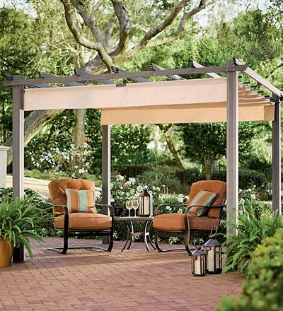 Superior Retractable Awning For Pergola  Essentially Roman Shade That The Rods Are  Hung On Hooks. Can Be Slid Open For Sun Or Closed For Shade.