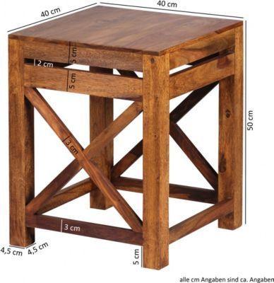Wohnling WOHNLING 2er Set Beistelltisch PALI Massiv-Holz Sheesham - wohnzimmer orange braun